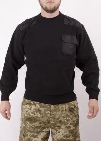 Свитер военный со вставками Турция (Черный)