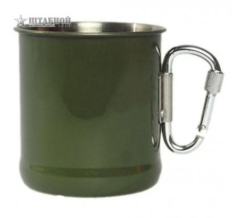 Кружка военная стальная с карабином - Mil-tec (Оливковая)