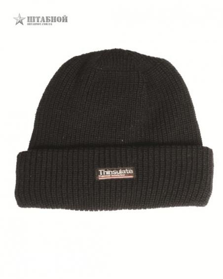 Вязаная, акриловая шапка с утеплителем Thinsulatе - Mil-tec (Черная)