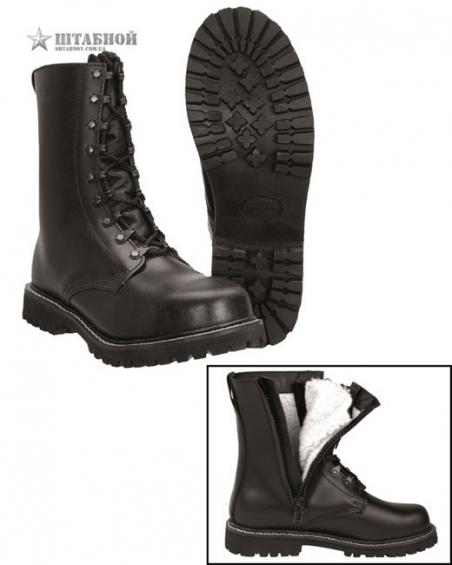 Ботинки зимние с подкл. из плюша на молнии - Mil-tec (Черные)