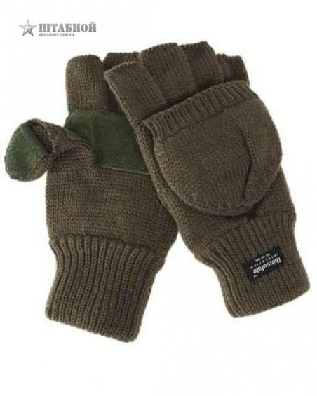 Вязаные перчатки-варежки с утеплителем Thinsulatе - Mil-tec (Оливковые)