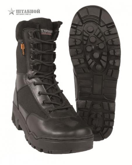Тактические ботинки, кожа, кордура, без молнии - Mil-tec (Черные)