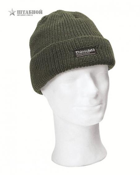 Вязаная, акриловая шапка с утеплителем Thinsulatе - Mil-tec (Оливковая)