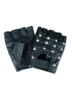 Перчатки байкерские обрезанные с клёпками - Mil-tec (Черные)
