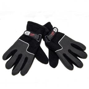 Перчатки двойной флис (Черные/серые)