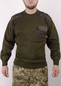 Свитер военный со вставками (Оливковый)