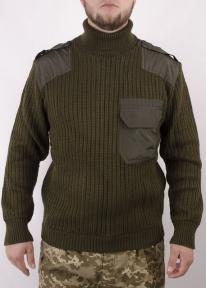 Свитер военный с горловиной и вставками (Оливковый)